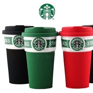 Branded Ceramic Coffee Mug With GREEN Rubber Grip & Rubber CAP