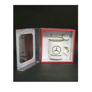 BRAND CARS MERCEDES Print Ceramic Coffee MUG With Spoon- BOX PACK GIFT -Tea Cup*