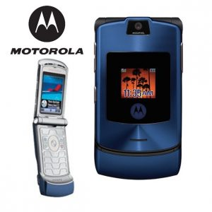 Moto Razr V3i Flip Mobile BLUE EDITION - Refurbished With Original Box and Accessories