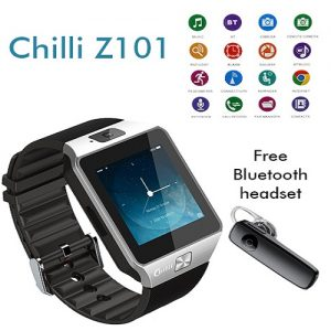 Chilli Z101 Smart Watch Sim Calling + Bluetooth Free  - Silver - Black  ( UNBOXED )