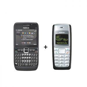 Nokia E63+Nokia 1110i Mobile Combo Pack of 2 Refurbished Qwerty Keypad Phone