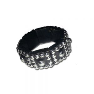 Black and Silver Studded Bracelet - Free Size For Every Girl - Black