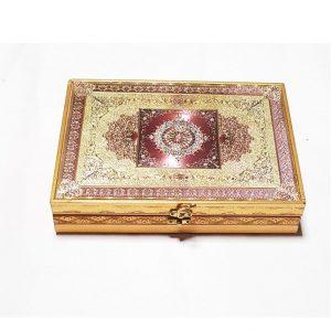 Wooden Gift Box Rectangular Shaped - Chocolate Box Handmade Golden Plated Box