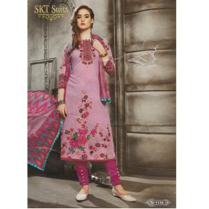 Ladies Suit With Dupatta - Beautiful Designer Pink Shade Suit (L)