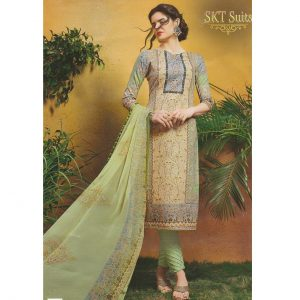 Ladies Ethnic Wear Printed Suit - Unstitched Suit With Dupatta (L)- Green Shade Printed Suit
