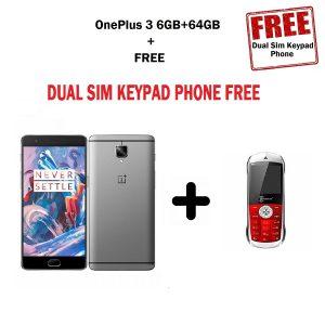 Combo Offer - OnePlus 3 Gunmetal 6GB RAM + 64GB Refurbished 4G VoLTE + Dual Sim Keypad Phone