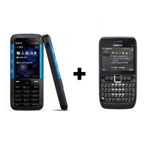 Combo Pack | Pack of 2 | Nokia 5310 XpressMusic | BLUE + Nokia E63 Black | Refurbished on zoneofdeals.com
