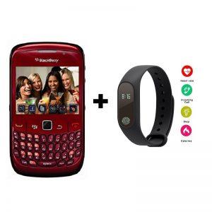 Combo Offer | Blackberry 8520 Curve RED Qwerty Keypad Mobile + M2 Smart Band | Refurbished