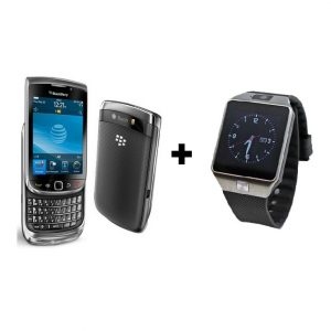 Combo Offer - Blackberry tourch 9800 + A Smartwatch online on zoneofdeals.com