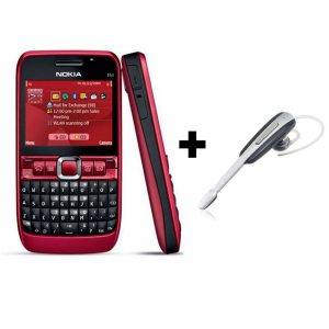 Combo Offer - Nokia E63 Qwerty Keypad Phone Refurbished Red + A Kenxinda Bluetooth